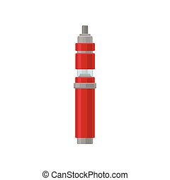 Bright red e-cigarette with transparent glass tank for liquid. Device for vaping. Modern trend. Flat vector icon