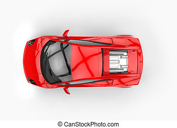Bright Red Fast Car Top View