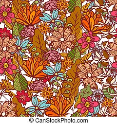 Bright red floral pattern with mess of flowers