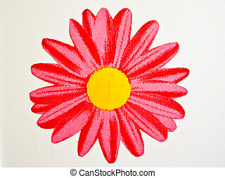 Bright Red Flower on white wall