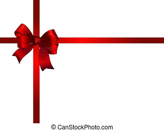 Bright red gift bow - isolated by groups vector on white...