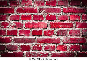 Bright red grunge brickwall