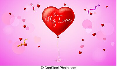 Bright red heart, the inflatable balloon in the shape of a realistic, big heart with tape, ribbon.