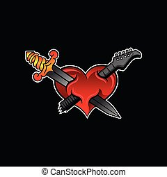 Bright red heart with crossed sword and neck of electric guitar. Rock or music theme. Vector design for tattoo, sticker or poster