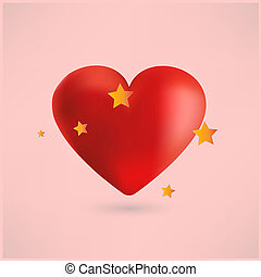 Bright red heart with stars, pink background