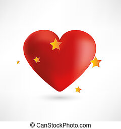 Bright red heart with stars vector illustration