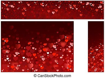 Bright Red Hearts Website Banners