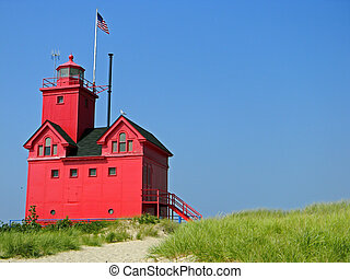 bright red lighthouse - Red lighthouse in summer.