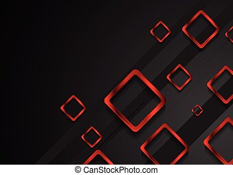 Bright red metal squares on black background