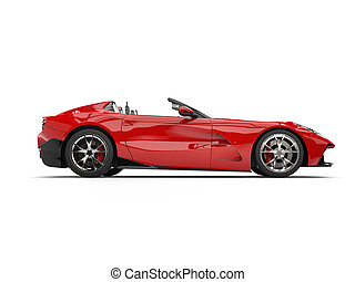Bright red modern convertible super sports car - side view