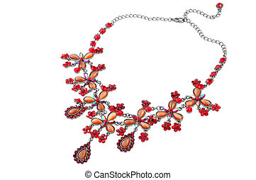 bright red necklace isolated on white