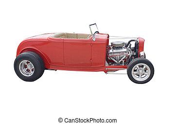 bright red open wheel hotrod on white