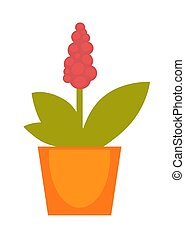 Bright red potted flower - Vector illustration of red flower...