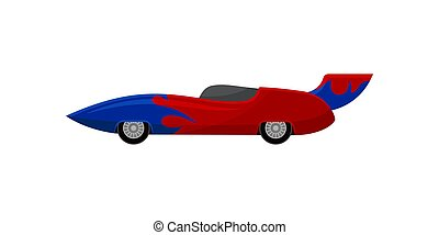 Bright red racing car with blue wrap decal and spoiler. Vintage automobile. Extreme auto sport. Flat vector icon