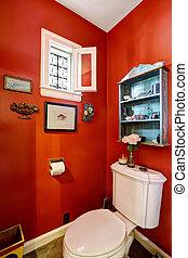 Bright red restroom interior