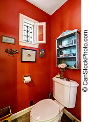 Bright red restroom interior