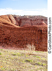 Bright red rock cliff
