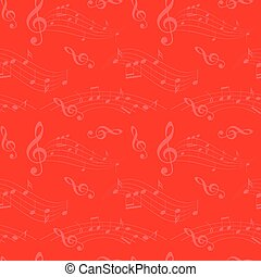 bright red seamless pattern with wavy music notes - vector background