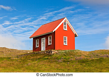 Bright Red Siding House in Iceland