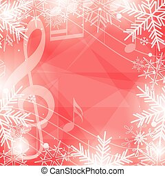 bright red vector background with music notes and snowflakes...