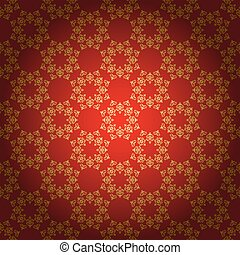 bright red vector background with vintage ornament