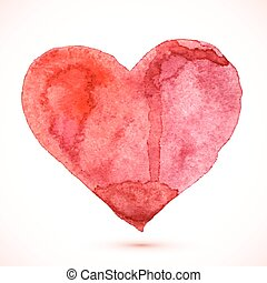 Bright red watercolor isolated vector heart