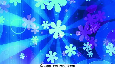 Bright Retro Blue Flowers loop