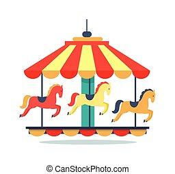 Bright Revolving Carousel Icon Vector Illustration
