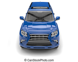 Bright rich blue modern SUV - top down front view