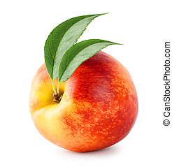 Bright ripe nectarine with green leaves