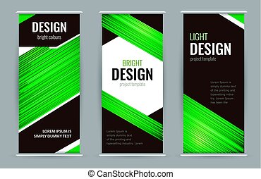 Bright Roll-up banner with green lines on black background. Design Abstract vector graphic background.