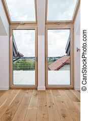 Bright room with big windows