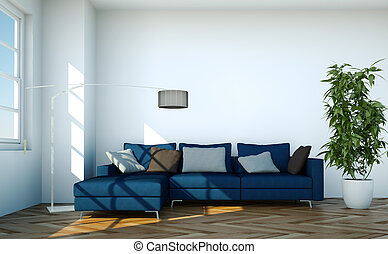 Bright room with blue sofa in front of a window
