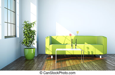 Bright room with green sofa in front of a window