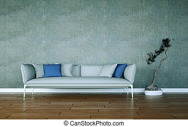 Bright room with grey sofa in front of a window