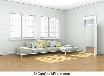 Bright room with grey sofa in front of window
