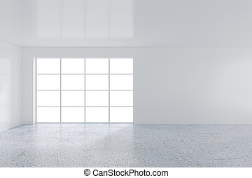 Bright room with large windows. 3d rendering