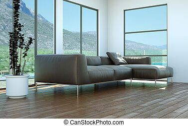 Bright room with leather sofa in front of a window