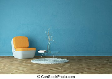 Bright room with orange armchair in front of a blue wall