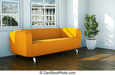 Bright room with orange sofa in front of a window