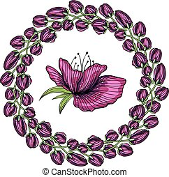 bright round floral frame with decorative color flowers