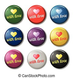 Bright round labels with hearts