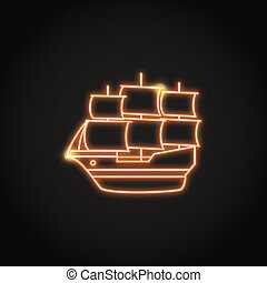 Bright sailboat icon in glowing neon style