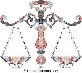 Bright scales, zodiac Libra sign