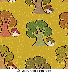Bright seamless background with trees and mushrooms in a simple