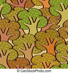 Bright seamless background with trees in a simple style. Vector