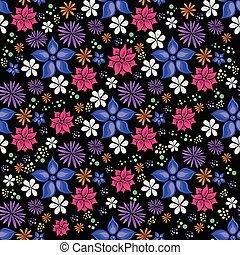 bright seamless floral pattern on black background