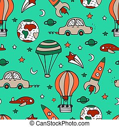 Bright seamless pattern for design with car, a rocket and balloons.
