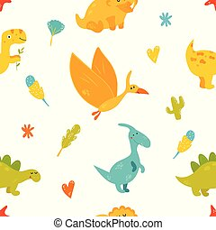 Bright seamless pattern with cute dinosaurs
