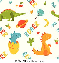 Bright seamless pattern with cute dinosaurs of different...